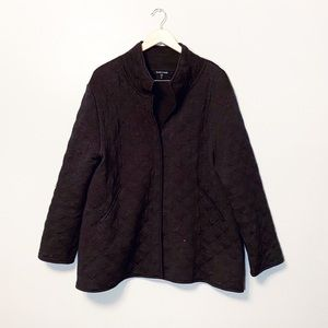 Eileen Fisher quilted jacket brown button down xl